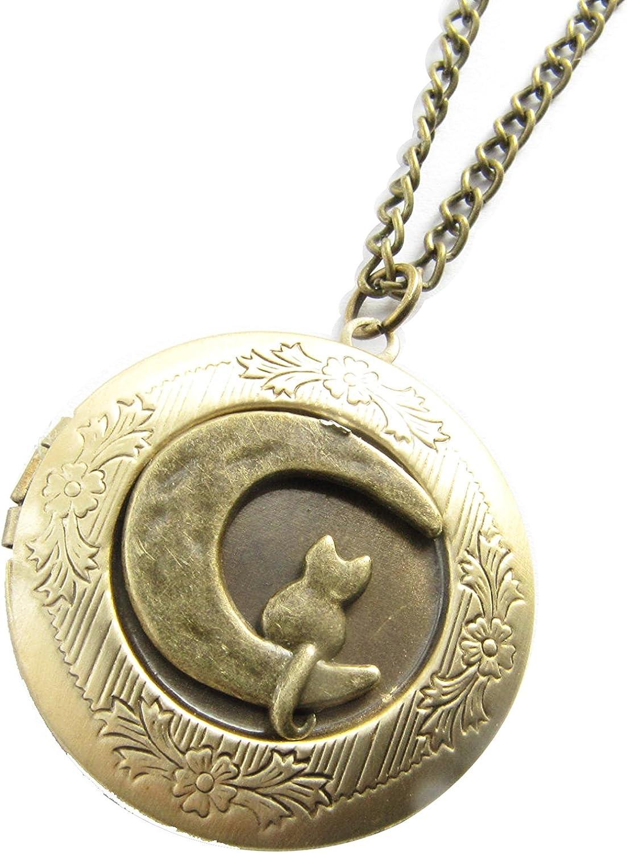Cat and Moon Locket Necklace - Moon Cat Charm - Cat Locket- Cat Lovers - Moon Locket - Cat Sitting on The Moon -Bronze