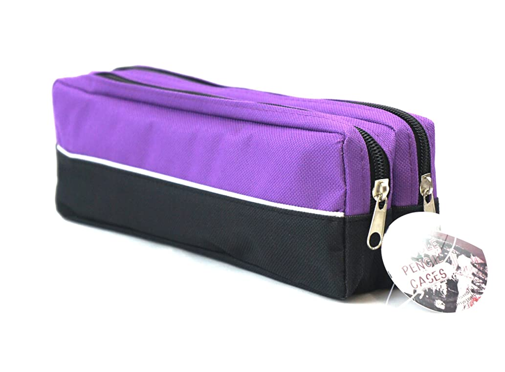 Arpan Large size Double Zip Fabric Pencil Case - Ideal For School/College/Uni.- Make Up - x 1 (PURPLE)