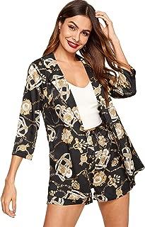 Milumia Women's Fashion Open Front Blazer 3/4 Sleeve Jacket Shirt Two Piece