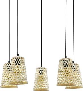 EGLO Lámpara colgante Claverdon, 5 focos, vintage, natural, bohemio, higge, lámpara de techo de acero, madera en color negro, natural, lámpara de comedor, lámpara colgante con casquillo E27