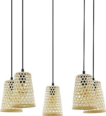 Eglo Claverdon Suspension 5 Ampoules Vintage Nature Boho Hygge Suspension en Acier Bois Noir Naturel Lampe de Salle à Manger Lampe de Salon Suspendue avec Douille E27