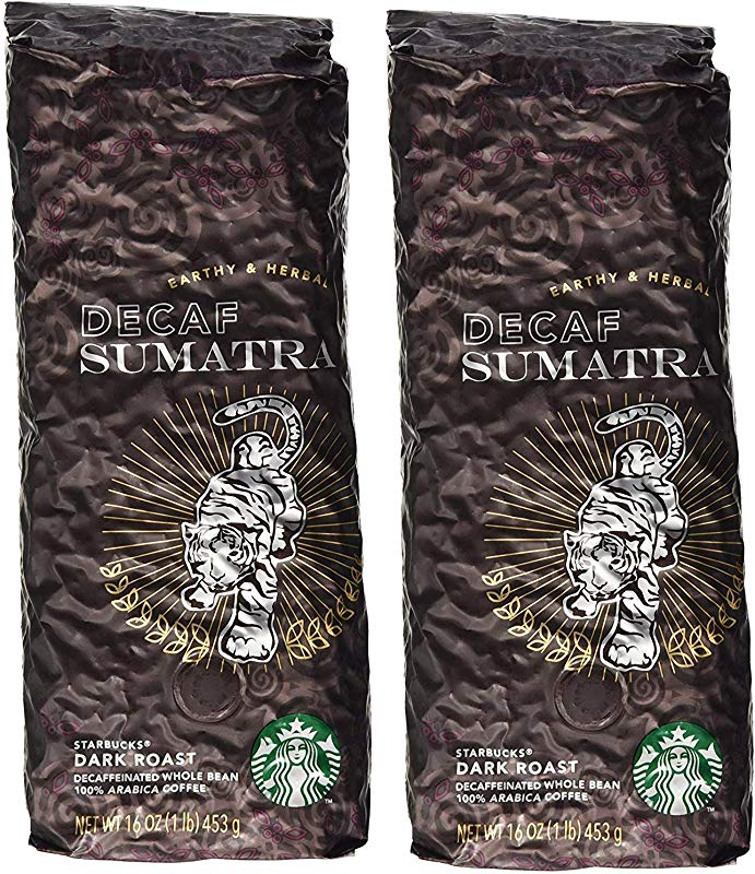 Starbucks Decaf Sumatra Whole Bean Coffee 2 LBS