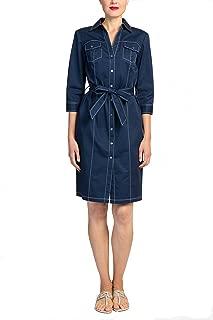 Badgley Mischka Navy Three Quarter 3/4 Sleeve Short Cotton Dress