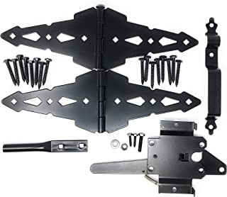 """Wood Gate Hardware Set – Heavy Duty Kit for Fence Swing Gate- Outdoor Decorative Black Finish w/ 8"""" Strap Hinges and Spring Loaded Latch"""