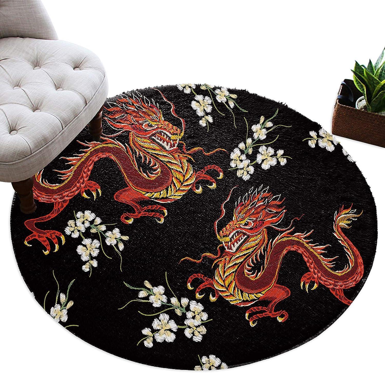 Round Area Rugs 4 ft Great interest Regular store Dragon Car Non-Slip Floor Flower Soft Plush