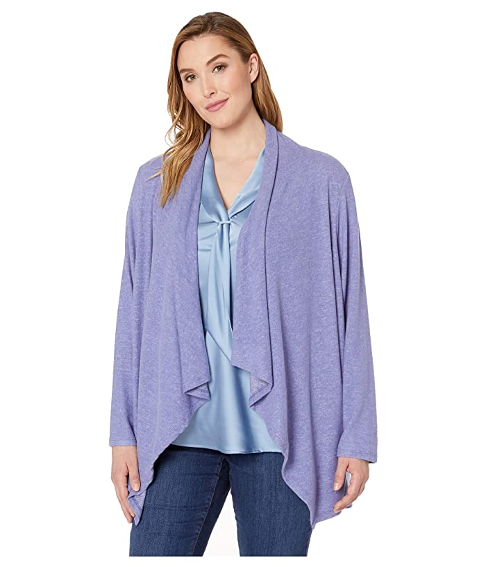 B Collection by Bobeau Plus Size Amie Waterfall Cardigan (Lavender Violet) Women