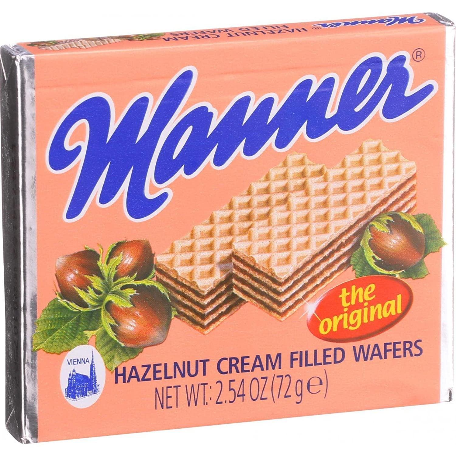 Amazon.com : Manner Wafers Hazelnut Cream Filled Wafers, 2.54-Ounce (Pack  of 12) : Wafer Cookies : Grocery & Gourmet Food