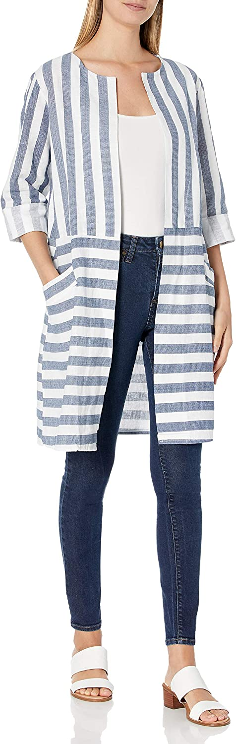 M Made in Italy Women's 3/4 Sleeve Striped Long Cardigan