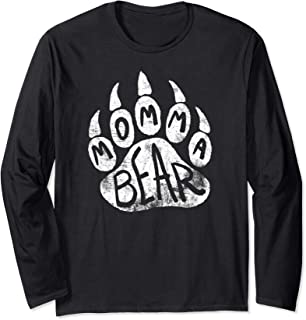 Momma Bear Long Sleeve Shirt Mothers Day Gift Cute Paw Print