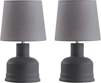 Safavieh Lighting Collection Dahlia Dark Grey 19-inch Bedroom Living Room Home Office Desk Nightstand Table Lamp (Set of 2) - LED Bulbs Included