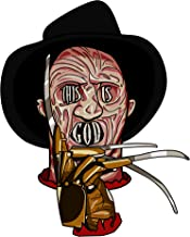 Creepy Haunted Dream Man with Hand Claws This is God Horror Film Movie Parody - Die Cut Vinyl Sticker (4 inches Tall)