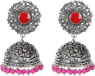 Sansar India Big Stud Oxidized Jhumka Jhumki Earrings for Girls and Women