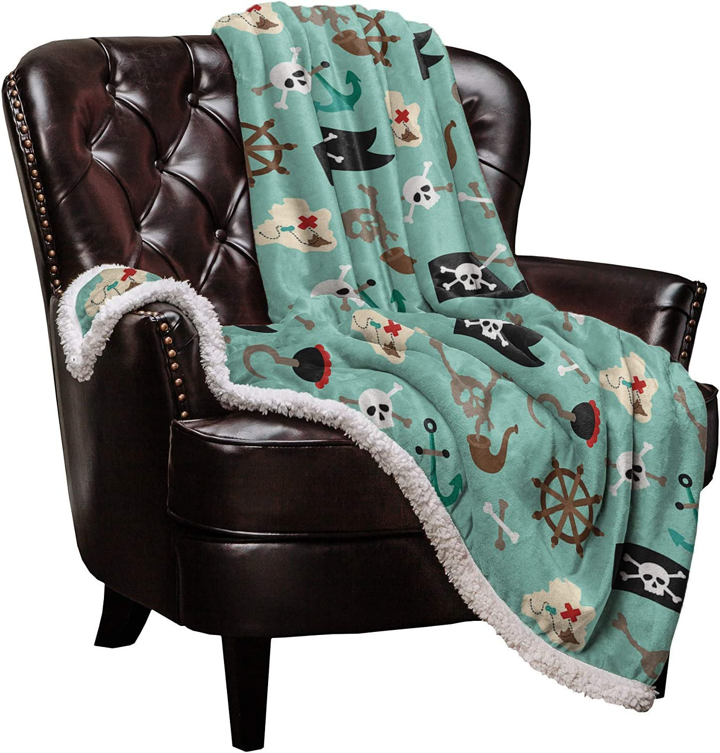 Sherpa Fleece Throw Blanket Pirate Soft Warm and Ranking TOP19 Sales results No. 1 Blankets Skull