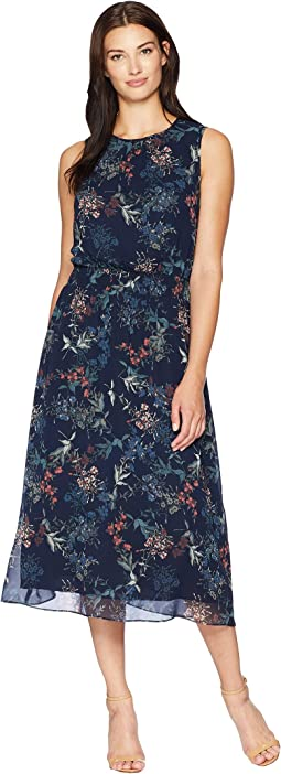 Sleeveless Smocked Waist Garden Floral Dress