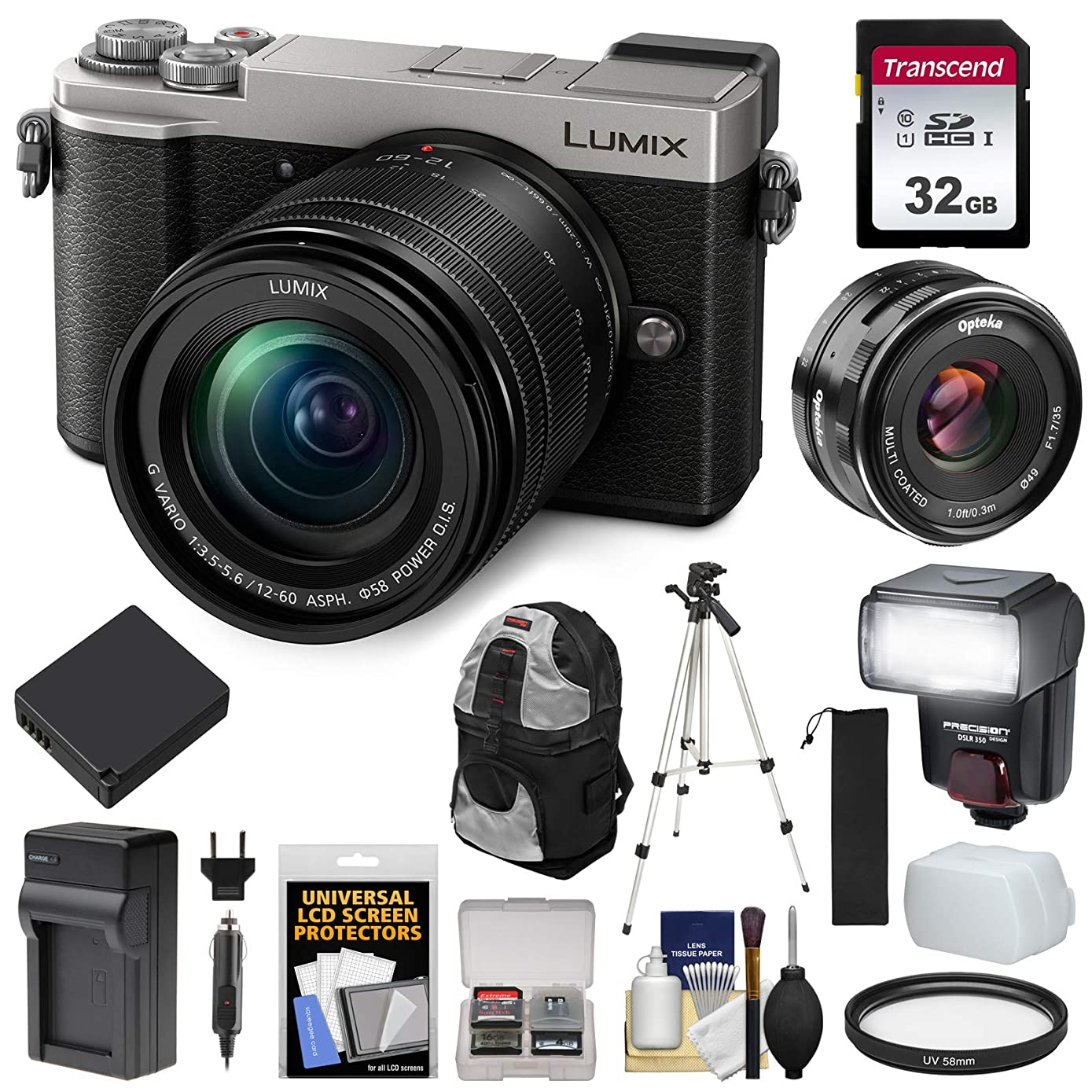 Panasonic Lumix DC-GX9 4K Wi-Fi Digital Camera & 12-60mm (Silver) with 35mm f/1.7 Lens + 32GB Card + Battery + Charger + Backpack + Tripod + Flash Kit