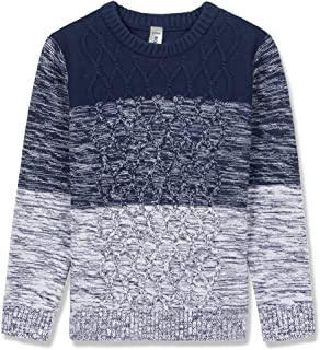 BOBOYOYO Boy's Pullover Sweater Long Sleeve Round Neck Cotton Cable Knit Sweater Casual Style 6-14Y Navy