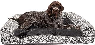 سرير كلب من Furhaven Pet - أريكة مخملية بتصميم أريكة كبيرة جدًا للكلاب والقطط الكبيرة جدًا مع غطاء قابل للإزالة، لون رمادي...