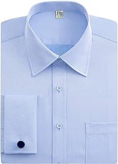 J.VER Men's Double Cuff Formal Dress Shirts Regular Fit Include Metal Cufflinks Long Sleeve