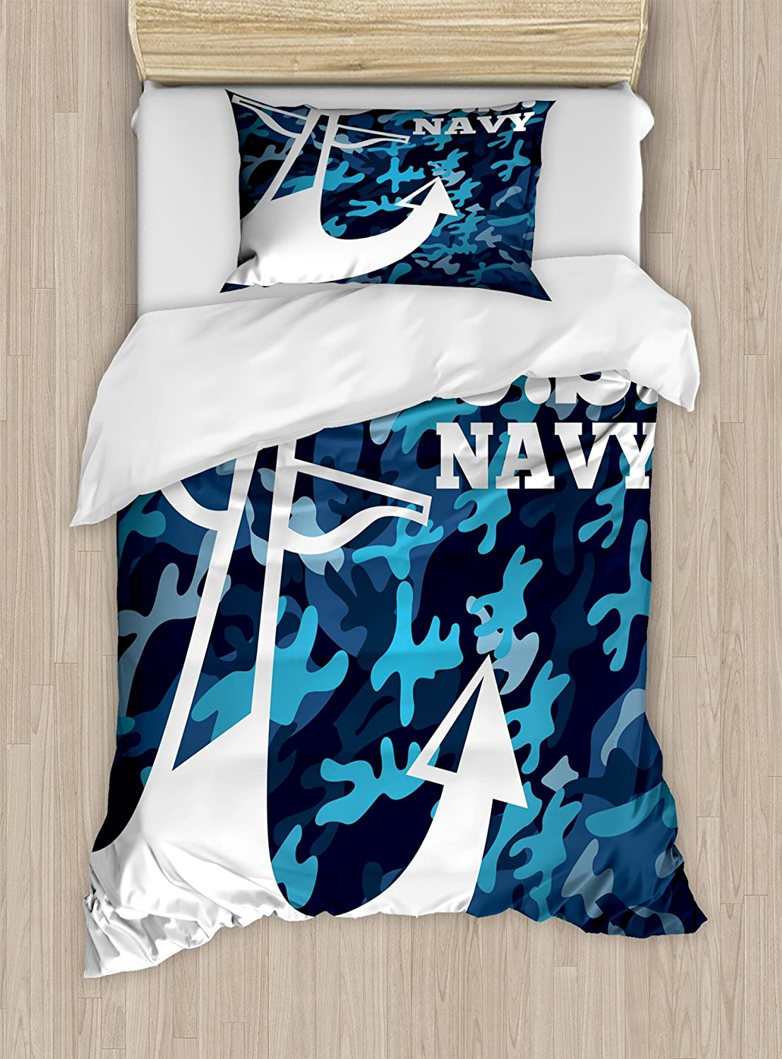 Lunarable US Navy Duvet Cover Set Twin Size, Uniform Design with Camouflage Style bluee Toned Background and Anchor, Decorative 2 Piece Bedding Set with 1 Pillow Sham, Dark bluee White bluee