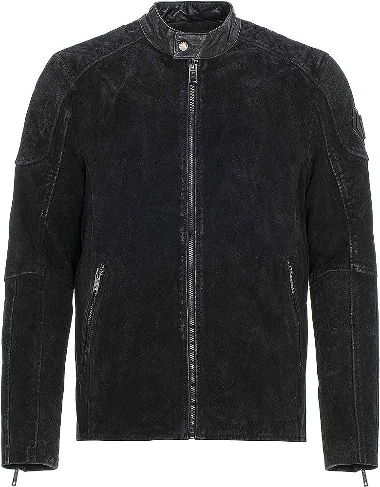 Redbridge ,giacca in vera pelle da uomo, giubbotto scamosciato stile vintage