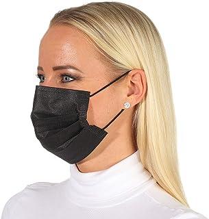 Wegwerpmaskers, mondkapjes, neusbedekking, zwart, 3-laags mondbescherming, elastisch elastiek.