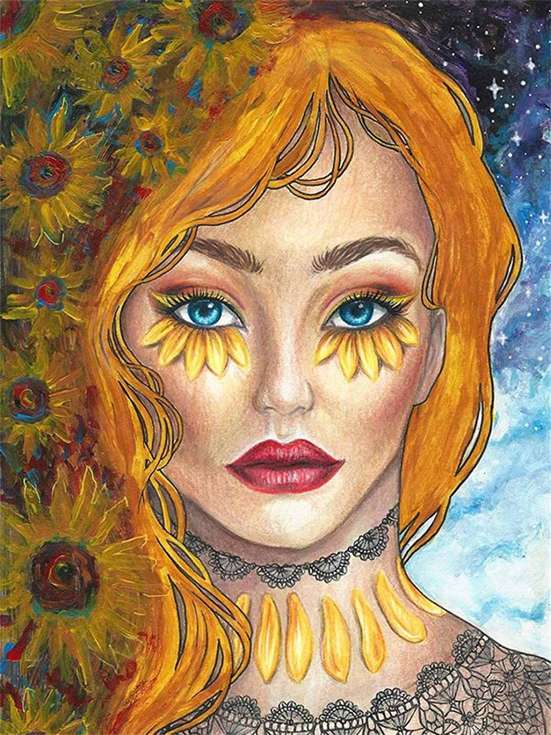 Diamond Painting Kits for Adults, 5D Diamond Art Kits with Full Drills Painting by Number Kits - Great Decor for Living Room,Office,Kitchen,Shop (Sunflower Woman)