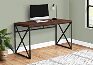 Monarch Specialties Modern Industrial Style-Home & Office Writing Table with Sturdy Crisscross Metal Computer Desk, 48