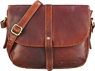 STILORD 'Kira' Borsetta da donna in pelle Borsa piccola a tracolla vintage Clutch Pochette Messenger a spalla in cuoio, Colore:siena - marrone