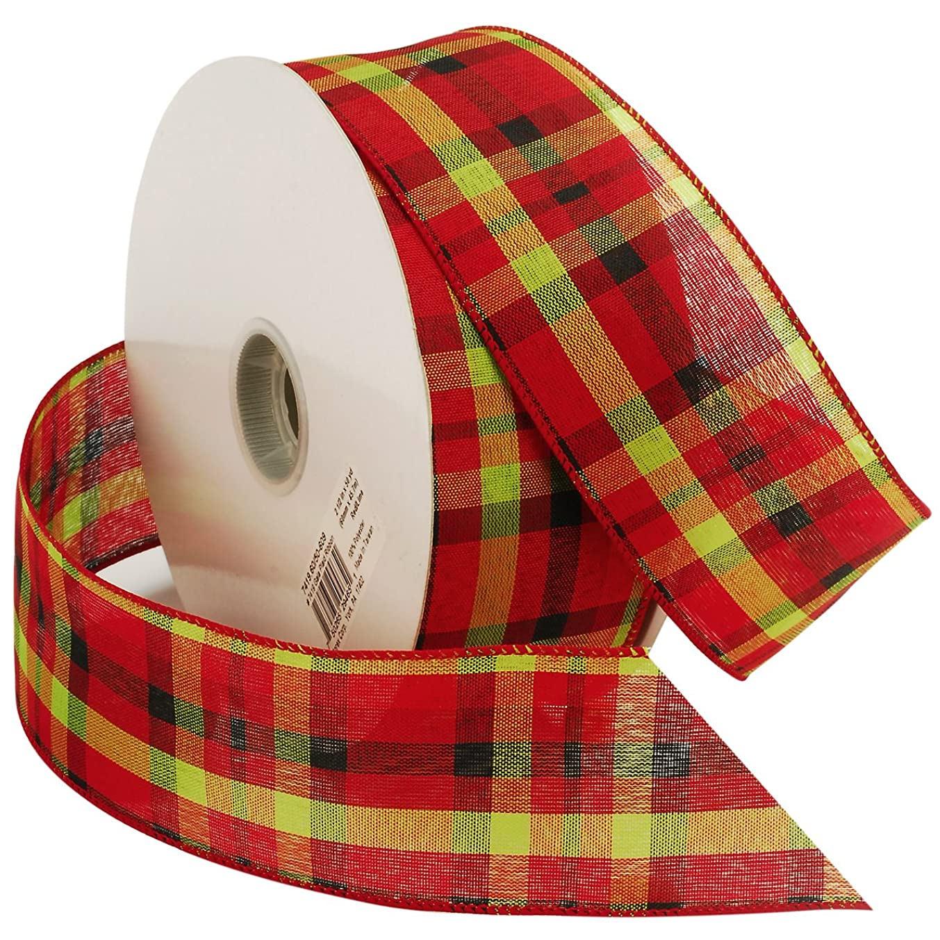 Morex Ribbon Gala Plaid Wired Fabric Ribbon, 2 1/2-Inch by 50-Yard Spool, Red/Lime