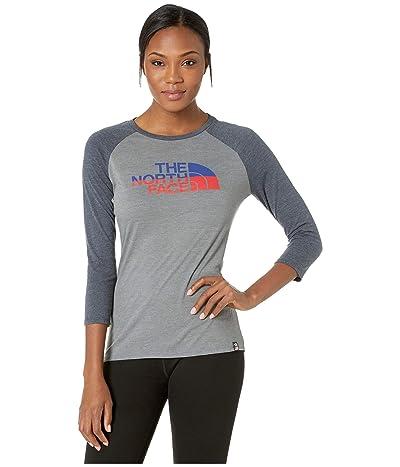 The North Face Americana Tri-Blend Baseball Tee (TNF Medium Grey Heather/Urban Navy Heather) Women