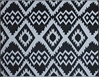 SMART DESIGN Reversible Indoor/Outdoor Plastic Rug, Fade Resistant Area Rug, Use for Patio, Deck, Garage, Picnic, Beach, Camping, Or Everyday Use - (8x10 feet,Black+Grey)