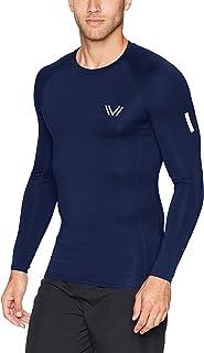 Peak Velocity Mens MA28T06 Long Sleeve Run Compression Crew Top Long Sleeve Yoga Shirt