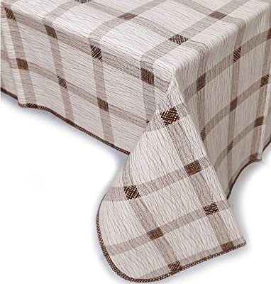 Green /& Black Plaid Easy Wipe Vinyl Flannel Backed Kitchen Party Tablecloth