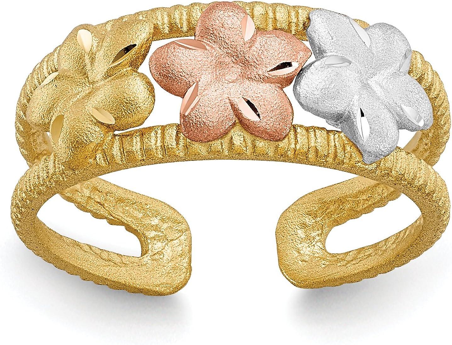 14k Tri-Tone Yellow and Rose Gold Plumeria Trio Split Shank Toe Ring