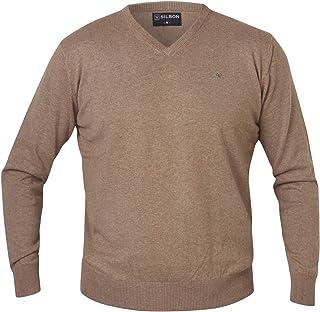 SILBON - Jersey Cuello Pico Marron para Hombre