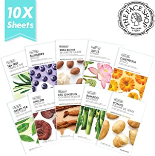 [THEFACESHOP] Facial Mask Sheets (10 Treatments), Real Nature [NEW 2017 Version] Full Face Masks Peel Off Disposable Sheet - Set B (Blueberry, Shea Butter, Green Tea, Red Ginger, Bamboo & More)