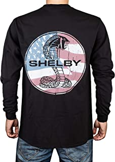 Shelby Patriotic Flag Snake Long Tee T-Shirt Black | Officialy Licensed Shelby Product | 100% Preshrunk Cotton
