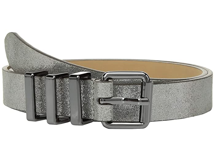 Rebecca Minkoff 25 mm Smooth or Shimmer Metallic Core Belt (Silver/Gunmetal) Women