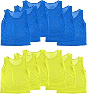 Nylon Mesh Scrimmage Team Practice Vests Pinnies Jerseys for Children Youth Sports Basketball, Soccer, Football, Volleybal...