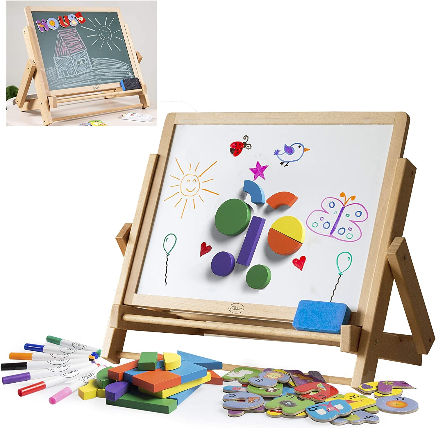Wood Double-Sided Tabletop Easel 80pc Chi for Activity mart Kids- Set Ranking TOP14