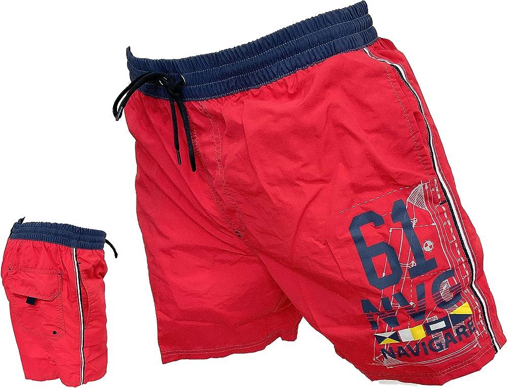 Navigare costume da bagno a pantaloncini da uomo 100% poliestere 98348 Red