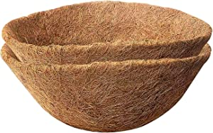Micgeek 2PCS Round Coco Liners for Hanging Basket, 14 in Coconut Fiber Planter Liners Coconut Fiber Liners for Wall Hanging Baskets, Garden Planter Flower Pot (14 in)