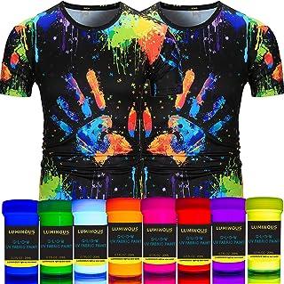 Luminous Fabric & Textile UV Paint - Set of 8 Textile Neon Black Light Glow Paints - Fluorescent Clothing Colors – Vibrant Glowing Fabric Paints
