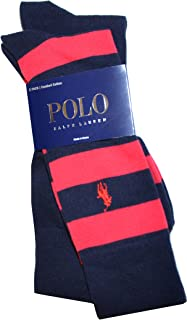 Men Classic 2-pack Assorted Pony Logo Long Socks (One Size, Navy/Red)