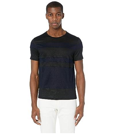 John Varvatos Collection Short Sleeve Two-Color Stripe T-Shirt K3050V1 (Black) Men