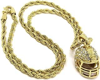 Mens 14k Gold Plated Hip-Hop Football Helmet Pendant 30