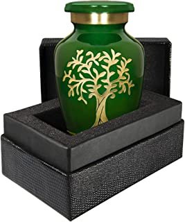 Tree of Life Green Small Keepsake Urn for Human Ashes Modern Style - Qnty 1 -A Beautiful Heart Warming Small Sharing Urn T...