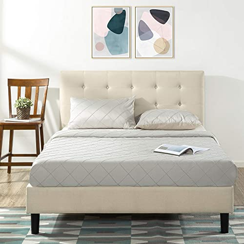 Zinus Modern Upholstered Button Tufted Platform Headboard Fabric Queen Bed Frame Base Mattress Foundation with Wooden...
