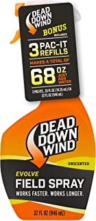 Dead Down Wind Evolve Field Spray – 12oz Bottle & Pac-It Refill, Unscented, Broad-Spectrum, Odor-Eliminating Hunting Spray