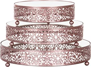 Amalfi Decor Cake Stand Plateau Riser Set of 3 Pack, Mirror Dessert Cupcake Pastry Candy Display Plate for Wedding Event Birthday Party, Round Metal Pedestal Holder, Rose Gold